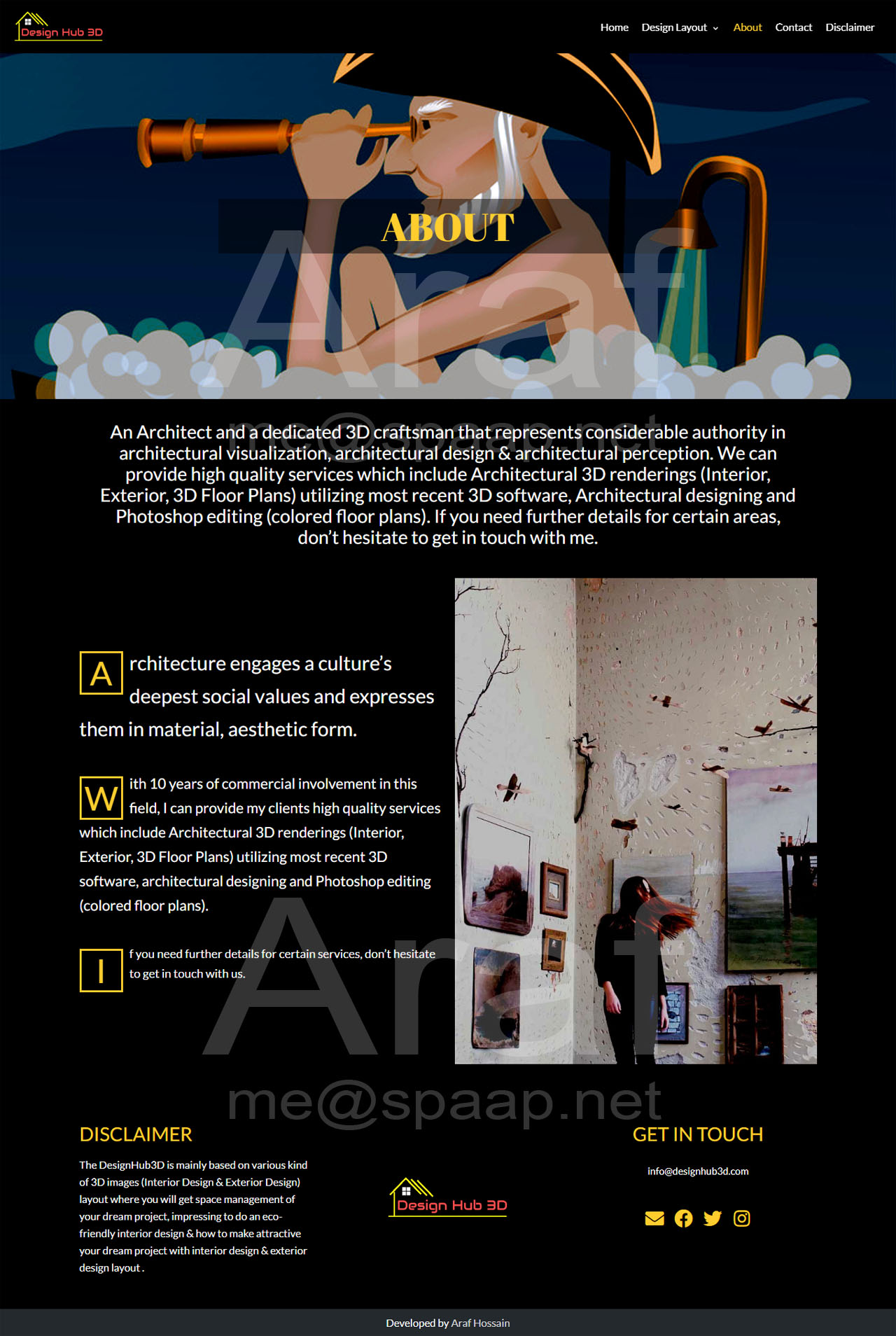 Araf Hossain - DesignHub 3D About