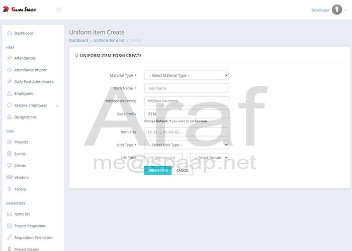 ERP Inventory form- Araf Hossain